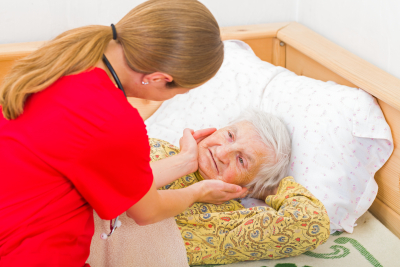 old woman with the caregiver